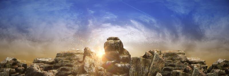 Puesta del sol en la montaña 3d libre illustration