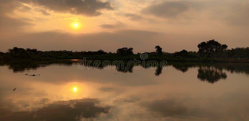 Puesta del sol en la orilla del lago foto de archivo libre de regalías