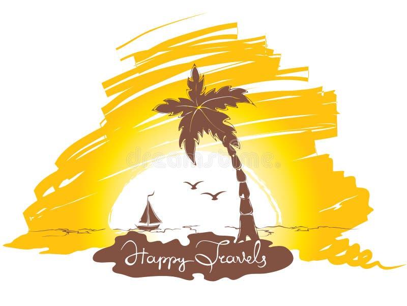 Puesta del sol en la playa stock de ilustración