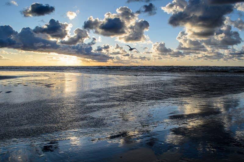 Puesta del sol en la playa con el cielo nublado, mar B?ltico, Jurmala, Letonia fotos de archivo