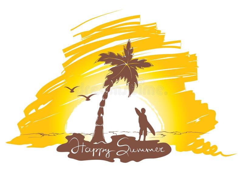 Puesta del sol en la playa con practicar surf stock de ilustración