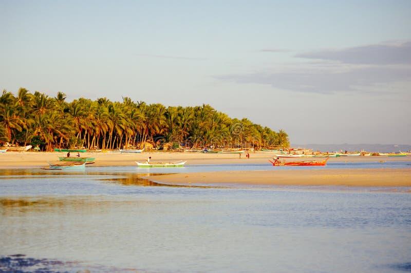 Puesta del sol en la playa coralina blanca hermosa de la arena con las palmas imagen de archivo