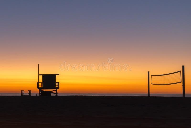 Puesta del sol en la playa de Hermosa, LA imagen de archivo libre de regalías