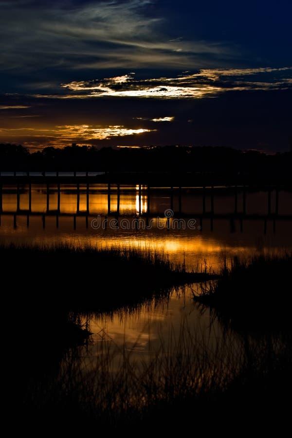 Puesta del sol en la playa de Panamá, la Florida foto de archivo libre de regalías