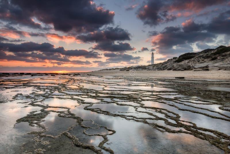 Puesta del sol en la playa de Trafalgar, faro próximo imagen de archivo libre de regalías