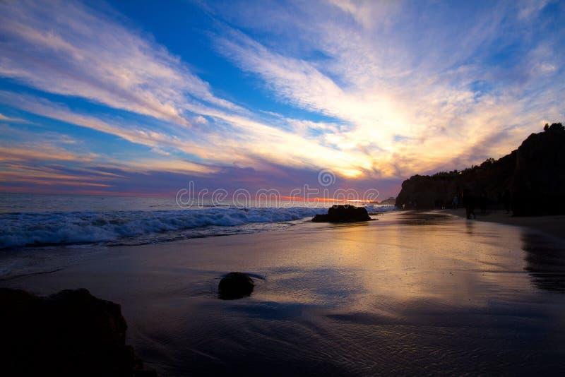 Puesta del sol en la playa del EL Matador foto de archivo libre de regalías