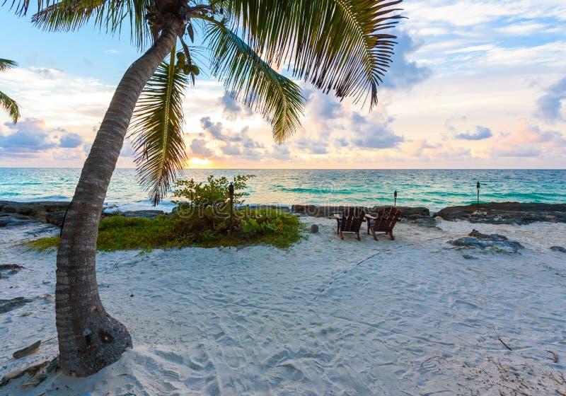 Puesta del sol en la playa del para?so - preside debajo de las palmeras en la playa en el centro tur?stico tropical r foto de archivo libre de regalías