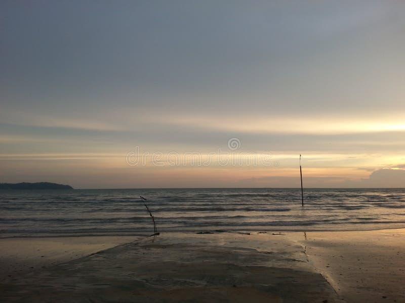 Puesta del sol en la playa portuaria de Dickson imágenes de archivo libres de regalías