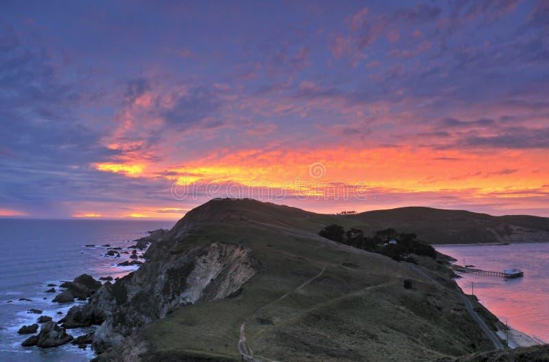 Puesta del sol en la punta Reyes imágenes de archivo libres de regalías