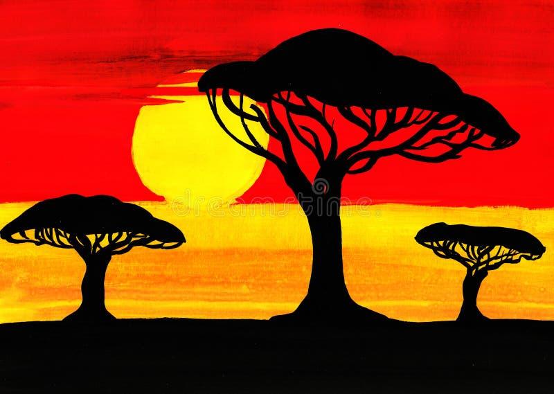Puesta del sol en la sabana ilustración del vector