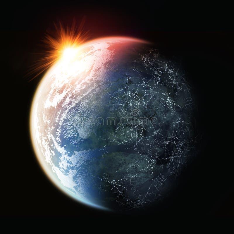 Puesta del sol en la tierra del planeta foto de archivo