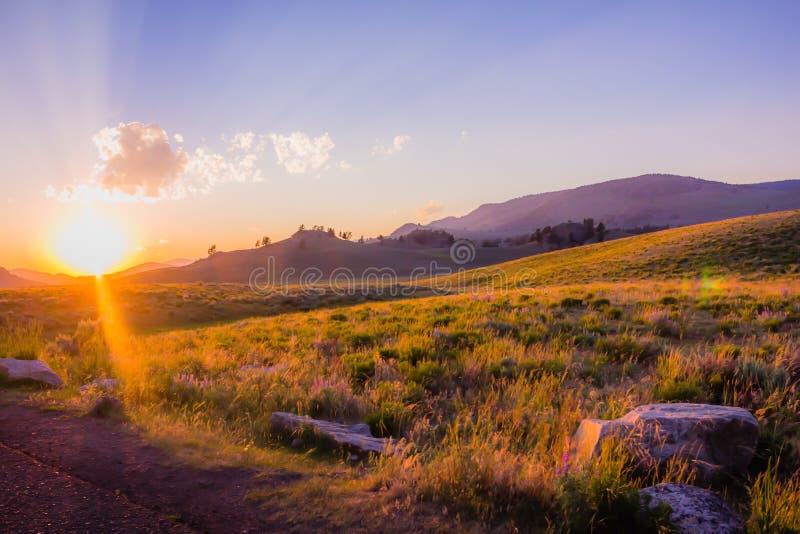 Puesta del sol en Lamar Valley fotos de archivo