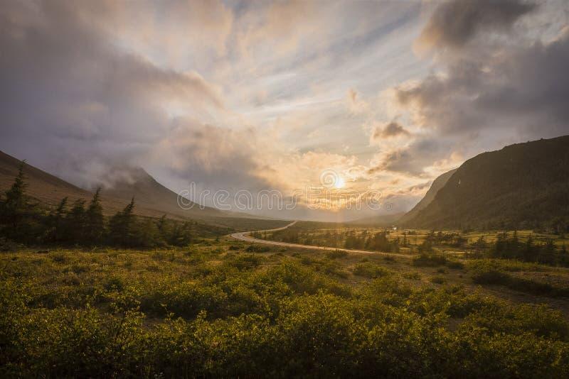 Puesta del sol en las altiplanicies imagen de archivo