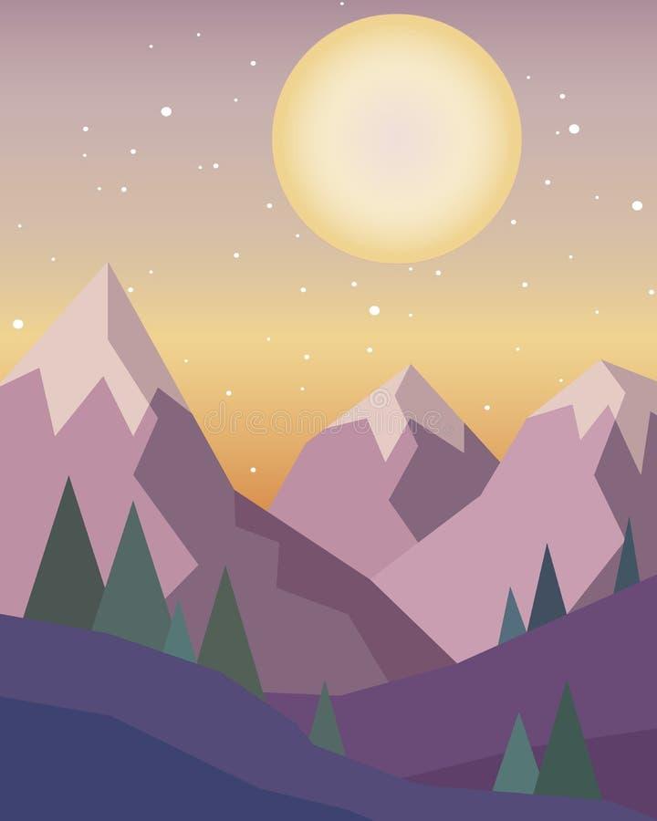 Puesta del sol en las montañas con un sol rojo en el cielo en un estilo geométrico stock de ilustración