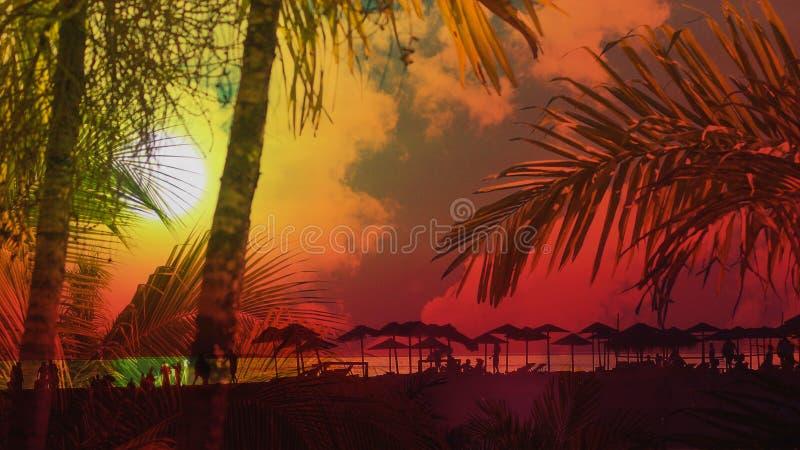 Puesta del sol en las siluetas de la playa de la gente en la exposición doble de la playa con las palmeras fotografía de archivo libre de regalías