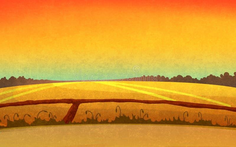Puesta del sol en los campos libre illustration