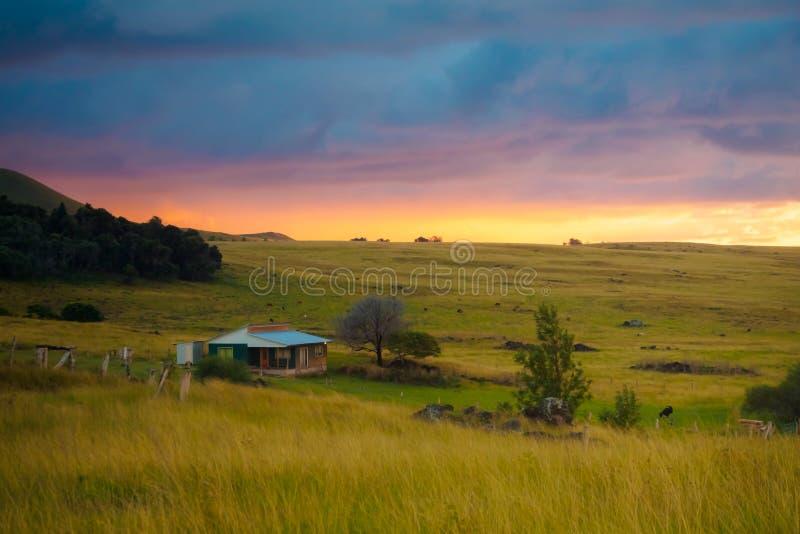 Puesta del sol en los campos de la isla de pascua foto de archivo libre de regalías