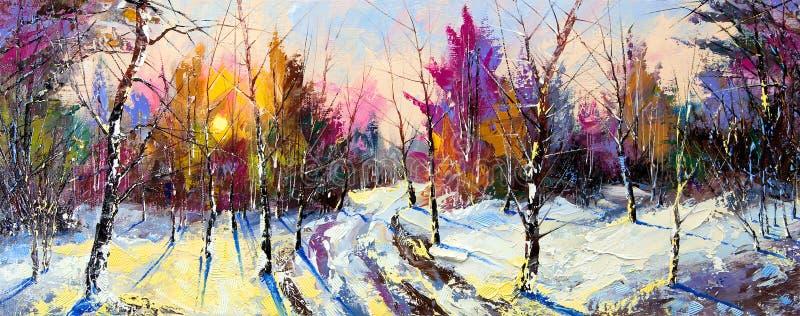 Puesta del sol en madera del invierno ilustración del vector