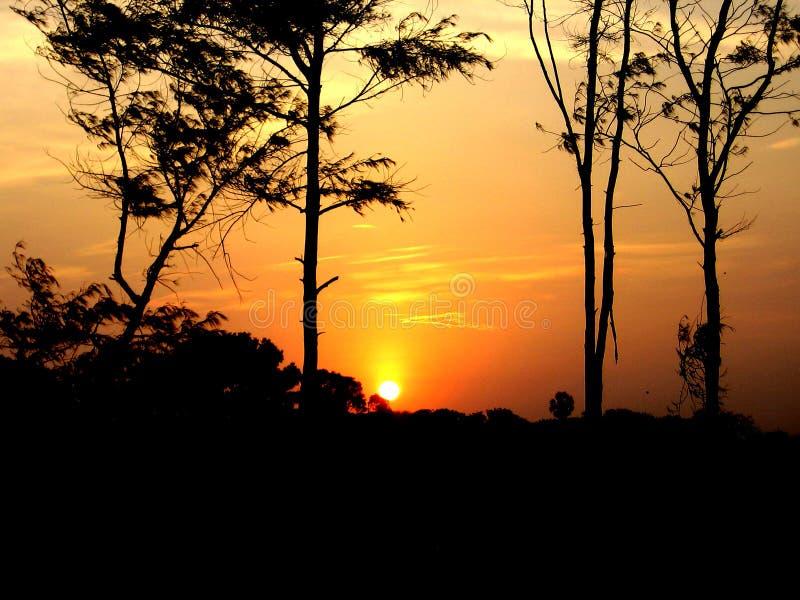 Puesta del sol en Mahabalipuram fotografía de archivo