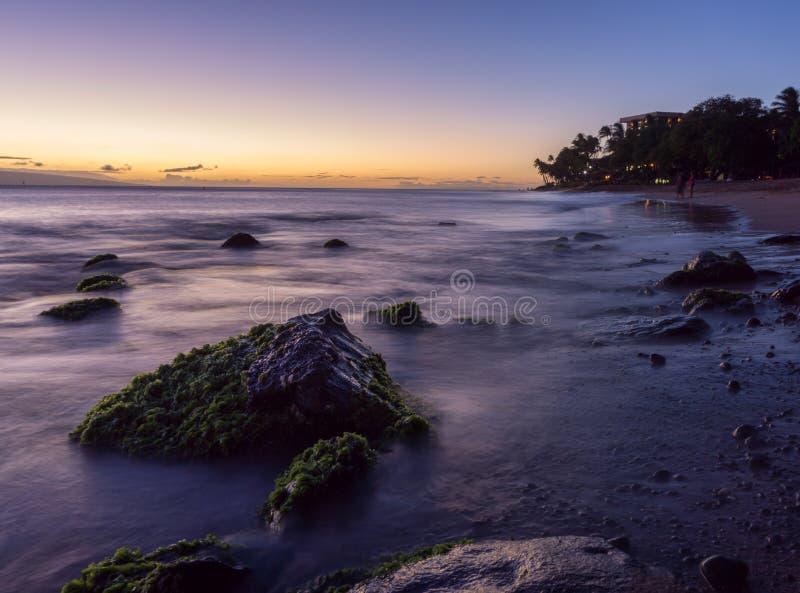 Puesta del sol en Maui fotos de archivo