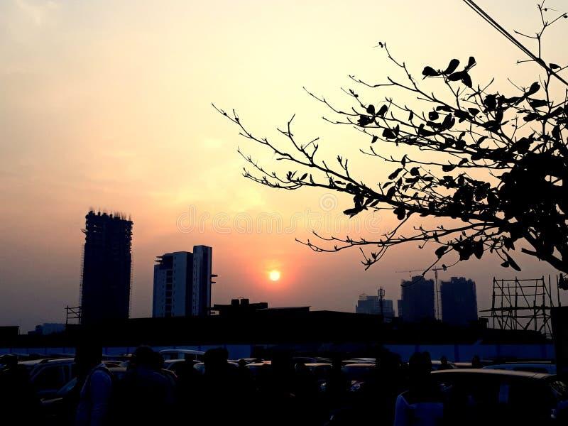 Puesta del sol en medio debajo del alto edificio de la subida de la construcción con el árbol y los hombres coloridos del cielo fotografía de archivo