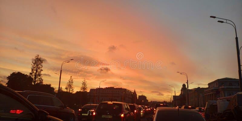 Puesta del sol en Mosc? foto de archivo