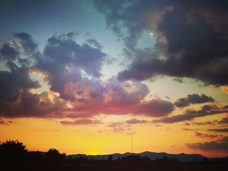 Puesta del sol en Niksic imagen de archivo