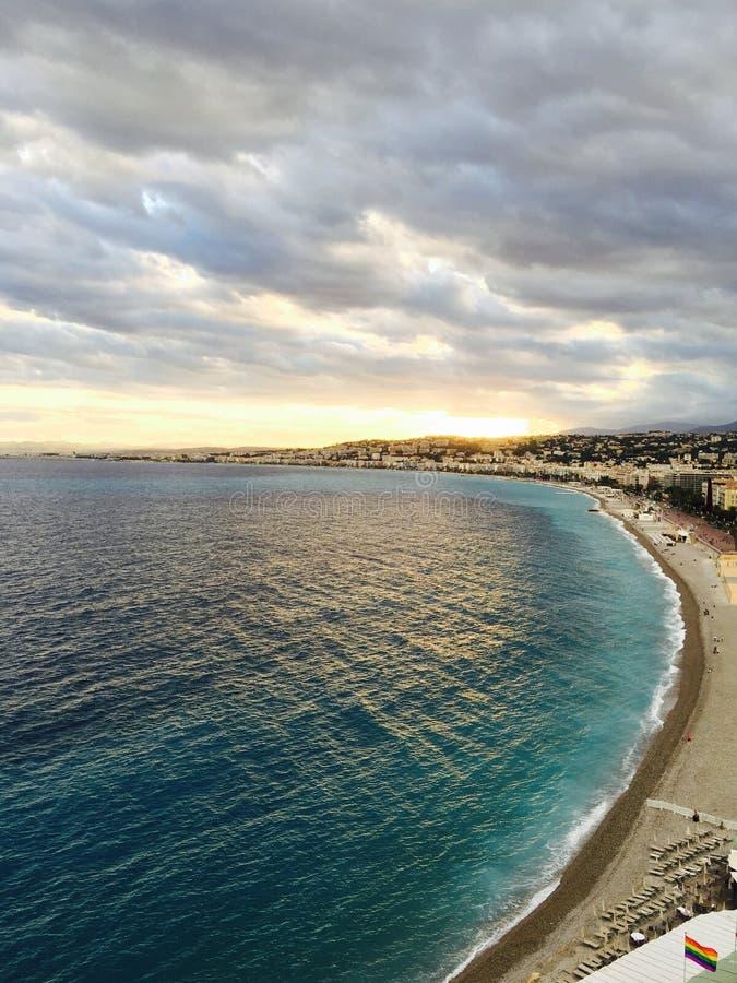 Puesta del sol en Niza imágenes de archivo libres de regalías