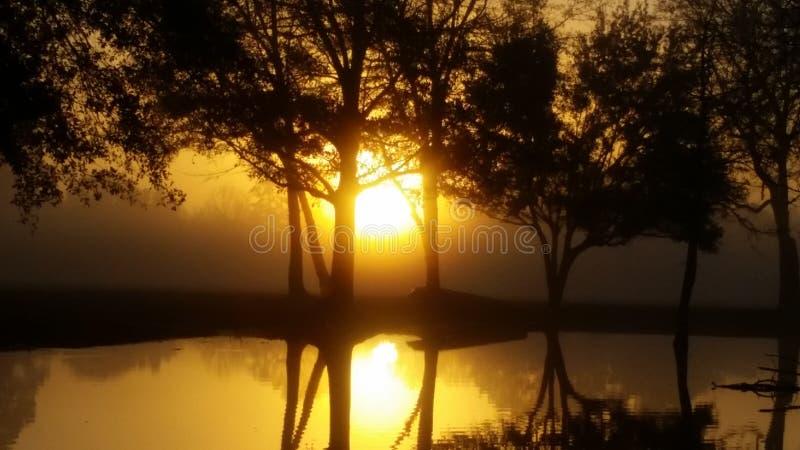 Puesta del sol en nuestra charca imagenes de archivo
