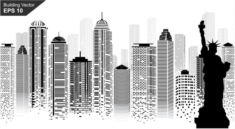 Puesta del sol en Nueva York Scetch punteado Digitaces Ilustraci?n del vector libre illustration