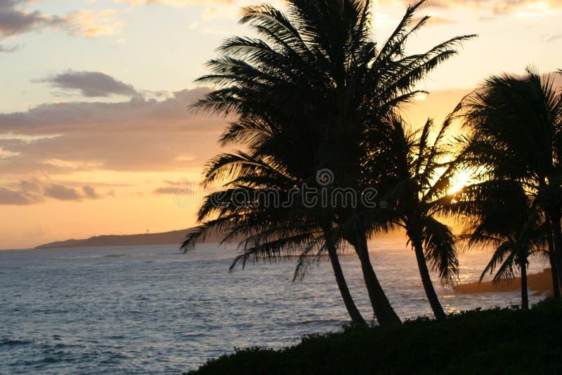 Puesta del sol en Poipu, Kauaii imagen de archivo