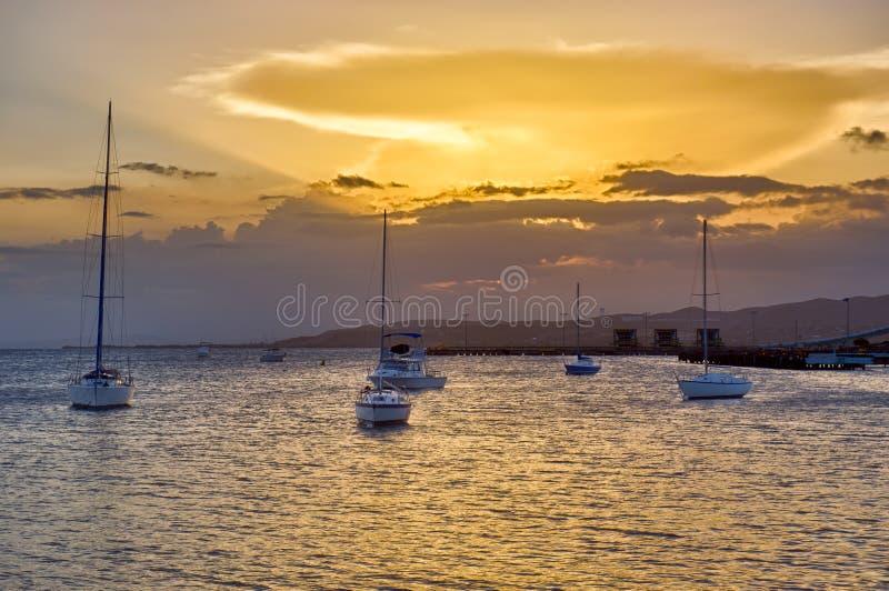 Puesta del sol en Ponce fotografía de archivo