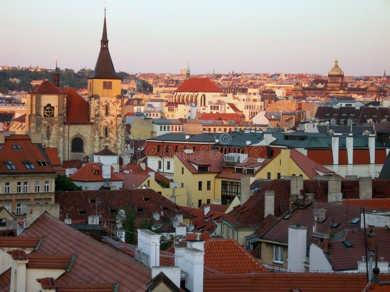 Puesta del sol en Praga imágenes de archivo libres de regalías