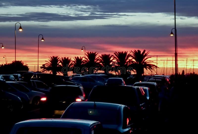 Puesta del sol en Punta del Este imagenes de archivo