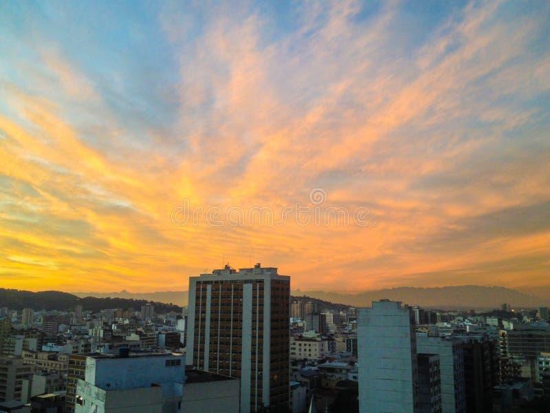 Puesta del sol en Río fotos de archivo