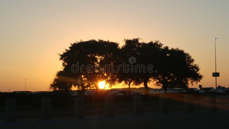 Puesta del sol en San Antonio Texas imagen de archivo
