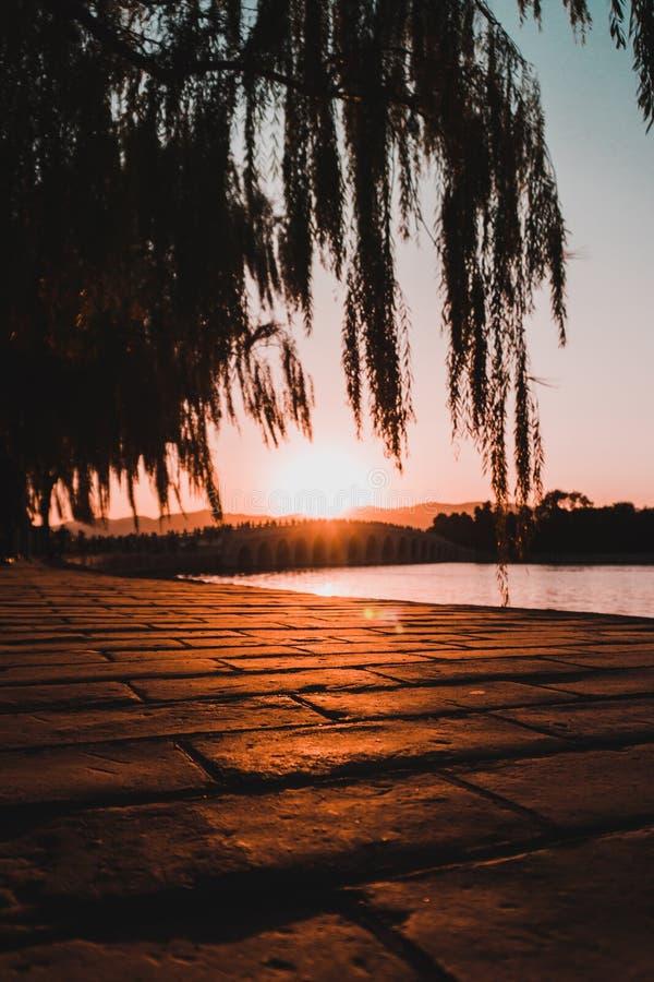 Puesta del sol en Shangai fotos de archivo libres de regalías