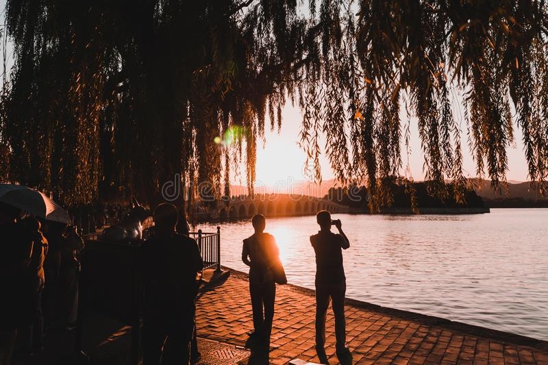 Puesta del sol en Shangai foto de archivo libre de regalías