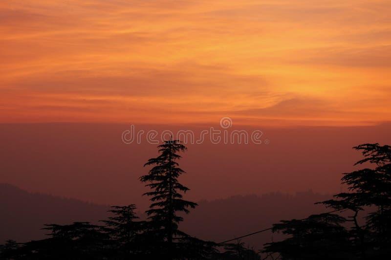 Puesta del sol en Shimla imagen de archivo
