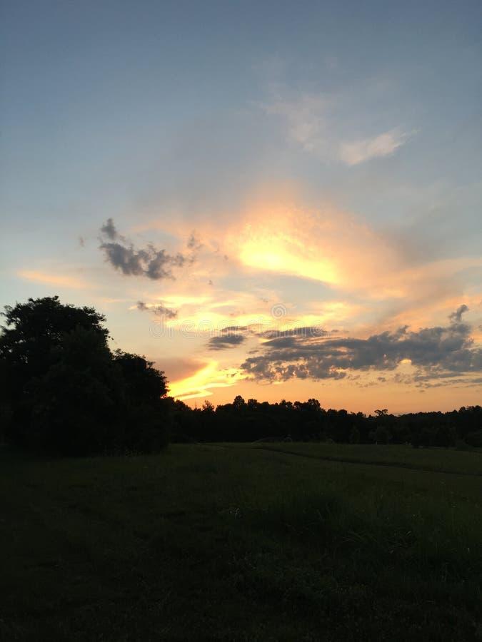 Puesta del sol en Springdale imagenes de archivo