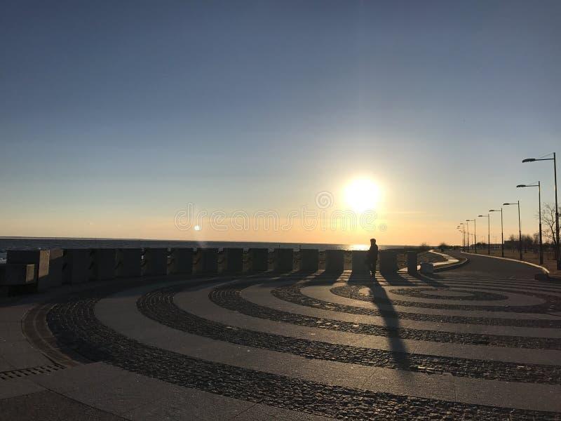 Puesta del sol en St Petersburg fotos de archivo