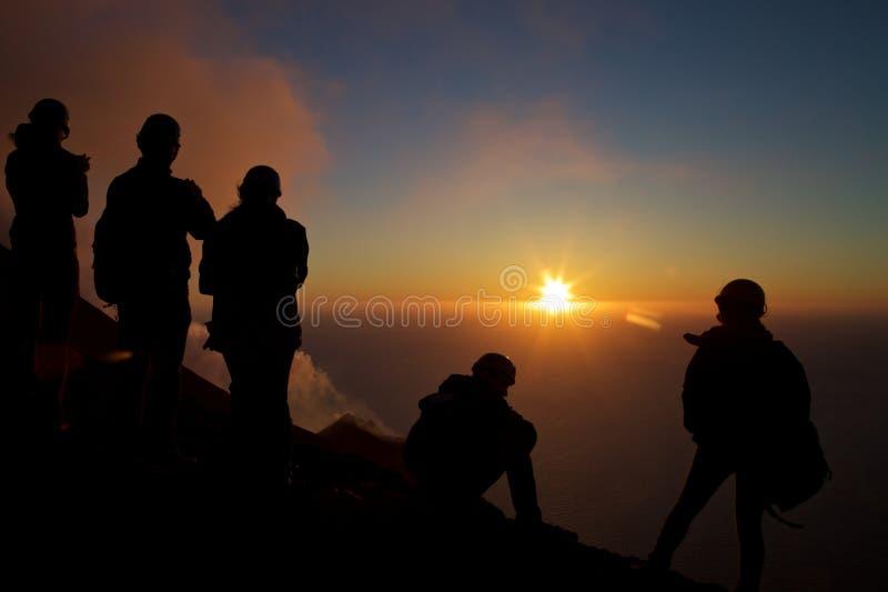 Puesta del sol en Stromboli fotos de archivo libres de regalías
