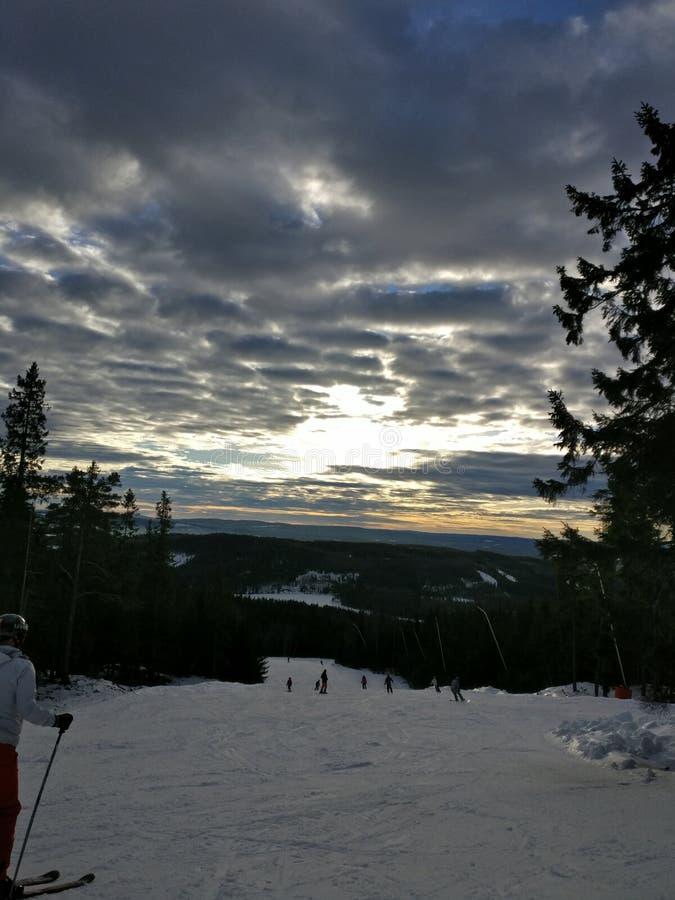 Puesta del sol en Suecia imagen de archivo