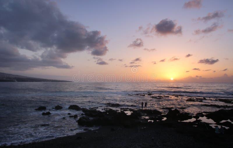 Puesta del sol en Tenerife Islas Canarias fotografía de archivo