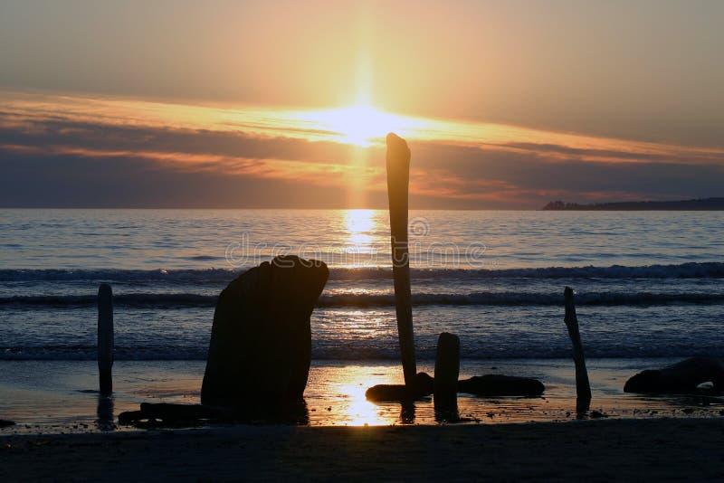 Puesta del sol en Ucluelet foto de archivo libre de regalías