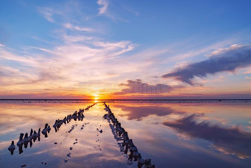 Puesta del sol en un lago de sal rosado, una mina anterior para la extracción de la sal rosada fila de las clavijas de madera dem imagen de archivo libre de regalías