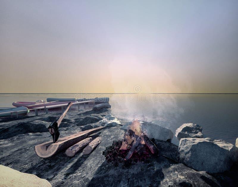 Puesta del sol en un lago Hoguera en el lago imágenes de archivo libres de regalías