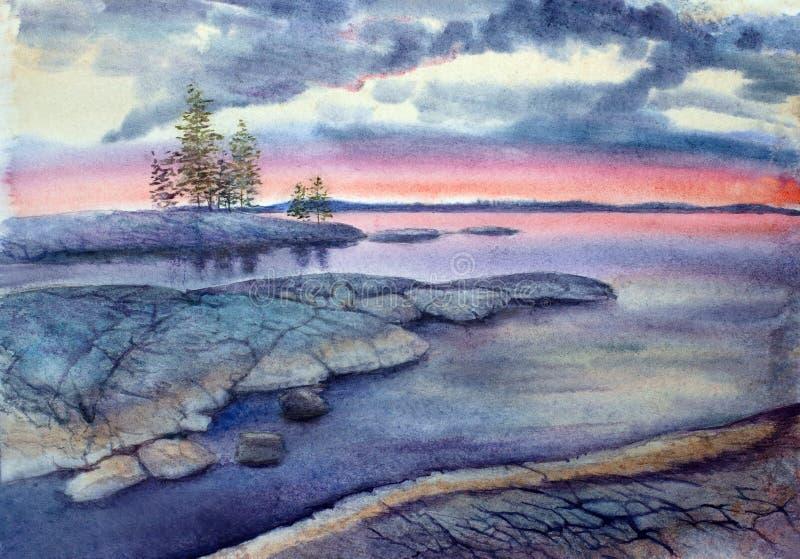 Puesta del sol en una isla de piedra ilustración del vector