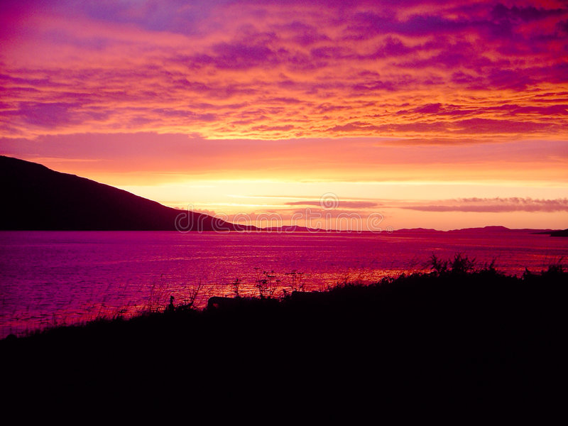 Puesta del sol escocesa imagen de archivo libre de regalías