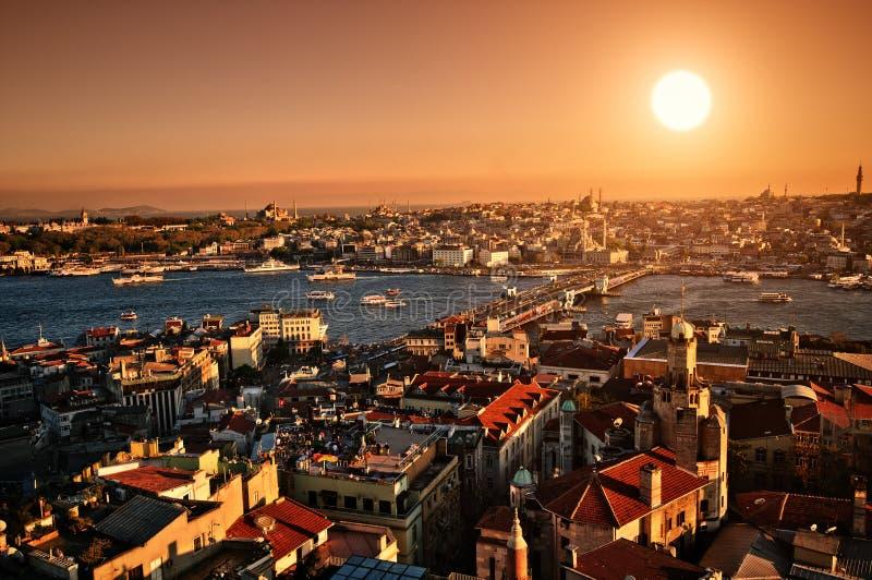 Puesta del sol Estambul foto de archivo libre de regalías